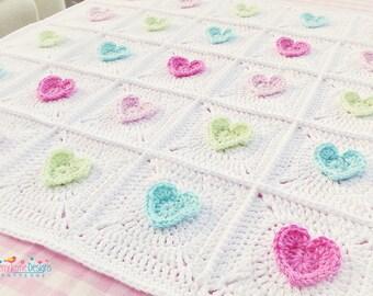 CROCHET PATTERN  All Heart Blanket Crochet Blanket Pattern Baby Hearts Blanket Crochet Heart pattern Granny Square Blanket Pattern Pdf NO.7A