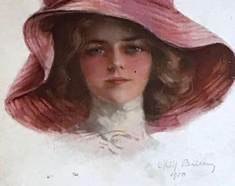 Antique 1910 Postcard, Elegant Edwardian Lady wearing large Pink Red Hat, Artist Signed Philip Boileau