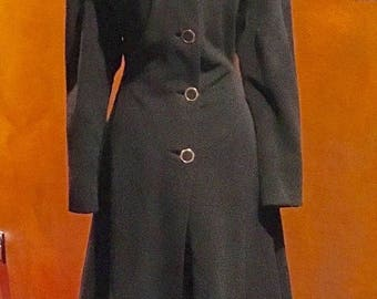 SALE 1940s Be a Russian Princess Fit and Flare Wool Coat M/L