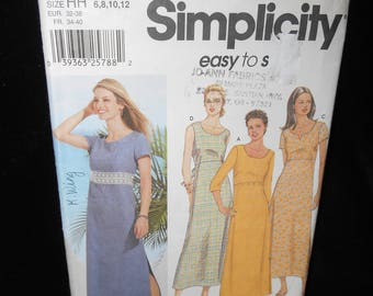 Misses Dress Simplicity 7207 Womens 6 8 10 12 Pullover Dress