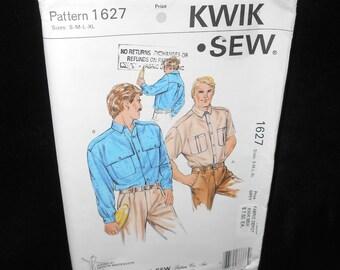 Mens Collared Shirt Kwik Sew 1627 Mens Small-Extra Large Short Long Sleeves Kerstin Martensson