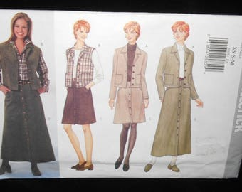 Misses Jacket Vest Skirt Butterick 5087 Womens Extra Small-Medium Jacket Vest Skirt