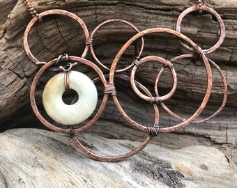 "Hammered Copper Circles with Jasper ""Bubbles"""