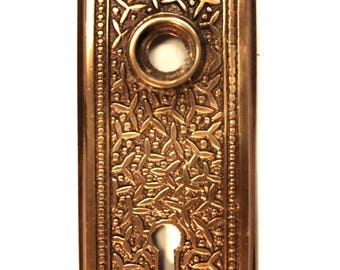 Door Back Aged Bronze Plate Rice Pattern Brass Hardware for Restoration