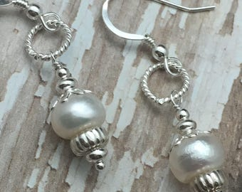 Small Pearl Earrings, Casual Everday Earrings, Gemstone earrings, white stone earrings, Silver Earrings, earrings under 50