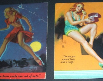 2 vintage pin-up blotter cards