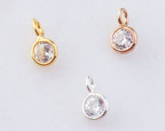 Set of 10 - Tiny CZ Round Shaker Drops in Gold Plated, Sterling Silver, Rose Gold Plated, CZ Drop Charms, Round CZ Drop Charms CM69GC
