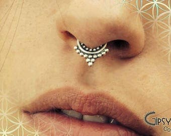 Silver septum ring, tribal septum,body jewelry, ethnic septum, piercing,925 septum, gift for her, helix, tragus,