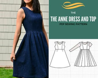 Anne Dress and Top PDF printable sewing pattern and Tutorial  Sizes from 4 to 22