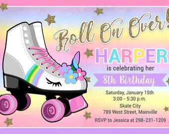 Roller Skate Invitation, Unicorn, Skating, Roller Skate Unicorn, Birthday Party Invitation, Rainbow Unicorn - Digital or Printed