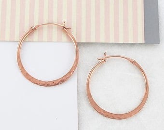 ON SALE NOW Small Hoop Earrings, Rose Gold Earrings, Round Earrings, Everyday Earrings, Rose Gold Jewelry, Gifts for Girlfriends, 925 Sterli