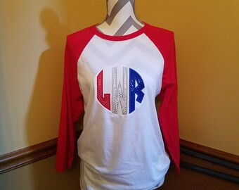 Monogrammed 4th of July baseball tee