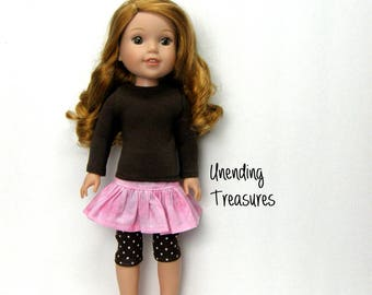 14 inch doll clothes made to fit like wellie wisher doll clothes brown turtleneck top pink ruffle skirt brown capri leggings