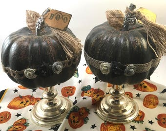 Choice black halloween distressed craft pumpkin on silver tone candle holder stand with decorative trim ribbon roses tassel charms & BOO tag