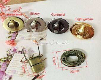 5sets 2.3x1.7cm Brushed Brass Silvery Light golden Purse Twist Lock Closure Oval Turn Lock Bag Fastener Bag Twist Lock Bag Turn Lock