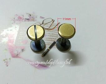 10 Sets 11x15mm Anti brass Brushed Brass copper screws rivets Chicago screw/ Concho screw