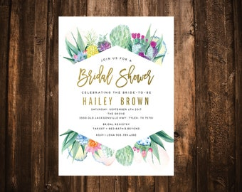 Colorful Cactus Watercolor Bridal Shower Invitation; Destination; Printable or set of 10