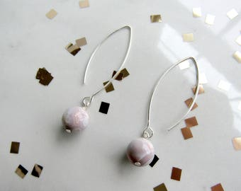 Pink Opal Orb Earrings | Leaf&Luna