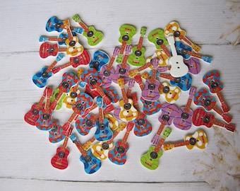 Set of 4 wooden guitar buttons