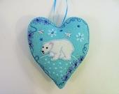 Polar Bear Ornament, Felt Bear Ornament, Felt Polar Bear, Doorknob Hanger, Doorknob Pillow, Christmas Ornament, Winter Decor, Arctic Animal