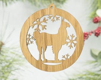 Alpaca Christmas Ornament - Alpaca Silhouette Wooden Tree Decoration - Llama Ornament - Barnyard Ornament - Alpaca Farm Ornament
