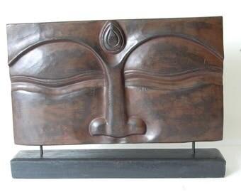 Standing Buddha Face Wood Sculpture