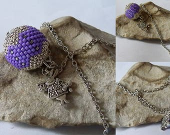 Purple and silver beaded Ball pendant