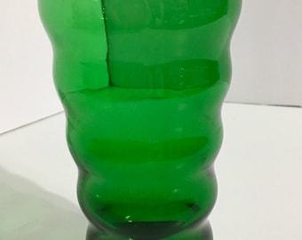Vintage Green Ribbed Tumbler Glass