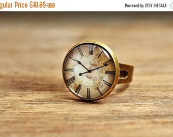 20% OFF Vintage clock ring, adjustable ring, statement ring, antiqued brass ring, glass ring, antique bronze / silver plated ring, jewelry g