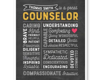 Counselor Gift, Counselor Chalkboard Print, Counselor Christmas Gift, Counselor Thank You, Guidance Counselor, Teacher Gift
