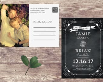 Deco Chalkboard Save The Date Postcard, Chalk Board Postcard Save Our Date, Chalkboard Photograph Save the Date, Engagement Announcement