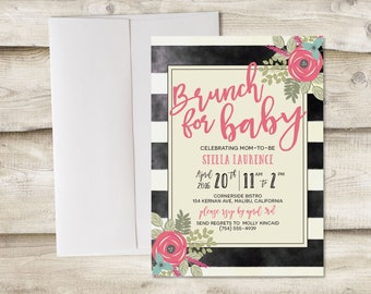 Brunch for Baby Shower Invitation, Baby Shower Brunch Invitation, Girl Baby Shower Brunch Invitation, Brunch Baby Shower for Girl Invitation