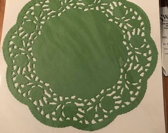 Set of 6 green doilies , 8 inches in diameter