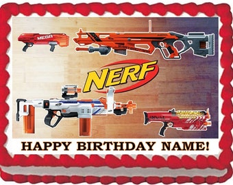 Nerf Dart Gun Edible Cake Topper Image Quarter Sheet Cake, Nerf Cake, Nerf Party, Nerf Birthday Cake, Nerf Edible, Edible Images, Edible