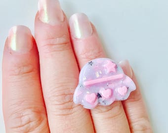 Pastel Goth Holographic Spaceship Resin Adjustable Ring