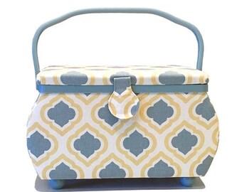 Summer Sale Sewing basket PRYM Bohemia yellow/grey