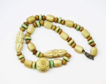 1930s Carved Bone Overdyed Necklace Art Deco Green and Taupe Bead Necklace