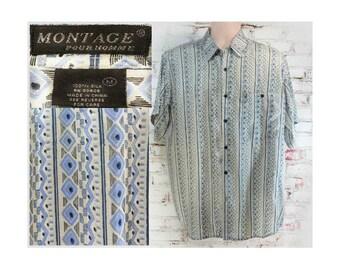 Men's silk shirt , short sleeve shirt, Men's casual shirt ,  button down shirt , size medium    # 263