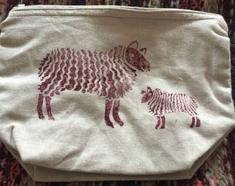 Linen fabric zip pouch for projects hand printed with sheep please state pink or navy
