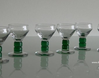 Set of six Art Deco optical blown liqueur glasses.