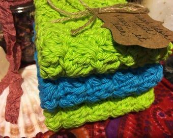 Handmade 100% cotton wash/dish cloths Free Shipping