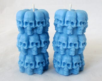 Skull candles, set of 2, votive candles, halloween candle, skeleton candle, spell candle, wicca candle, goth candle, pillar candle