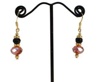 Autumn Jewelry, Topaz Brown, Earrings, Petite Earrings, Black Earrings, Brown Black, Beaded Earrings, Drop Earrings, Hypo Allergenic, Gold