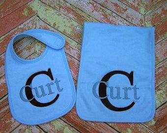 Baby bib, Burp cloth, Baby gift, Monogrammed Bib, Monogrammed burp cloth, Baby boy gift, Baby shower gift, Personalized baby gift.
