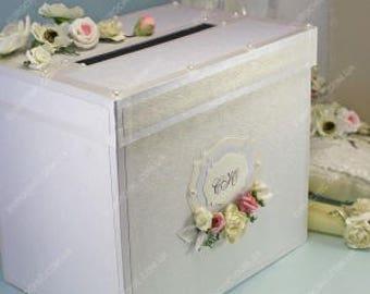 White wedding card box Wedding card holder Rustic wedding card box Wedding gift box Money box Wedding Money holder Personalized box