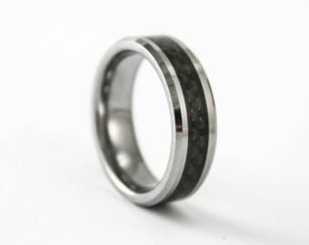 6MM Womens or Mens Tungsten and Black Carbon Fiber Promise Band Personalized Free Inside Custom Engraving Wedding Ring