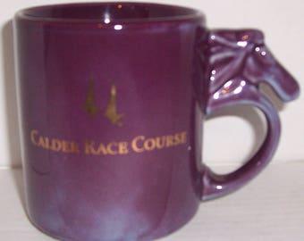 Calder Race Course Purple Color with Horse Head Handle Ceramic Mug 16 oz