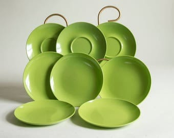 Vintage Green Texas Ware  Five (5) Small Plates Three (3) Saucers RV Dishes Melamine Plastic Dishes Picnic Dishes