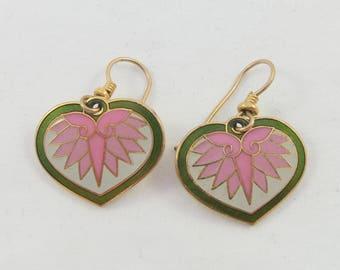 Vintage Laurel Burch Pink Grey Green Enamel Gold Tone Dangle Pierced Earrings