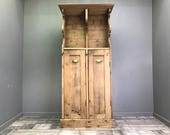 Nice Antique Rustic Pine Wall Unit Display Bookcase Cupboard Church Farmhouse